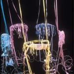 "1983 - ""Cradlin' Mojo"" installation (size: 10'X8'X8' media: organza, steel, ribbons), Center/Gallery, NC"