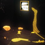 "1989-""Running Water""installation (size: 10'X20'X14' media: paint, wood, video) The Birmingham Loft, Pittsburgh, PA"