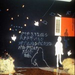 "199 2- "" A Million Voices"" installation (size:10'X12'X14' media: paint, straw, cast paper, text) SOHO 20 Gallery, NYC"
