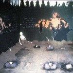 "1995-""Common Ground"" installation(size: 12'X17'X12' media: paint, dirt, bones, text) Greenhill Center for NC Art"